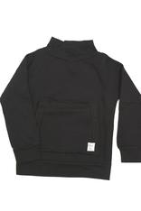 Tjocktröja med ficka, svart 5-6 år