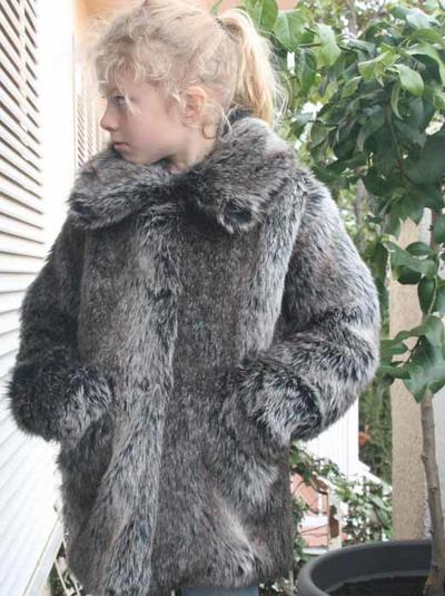 Fur Coat (fake), Grey/Brown