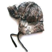 Fur Cap (fake) Grey/Brown