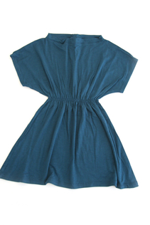 Klänning med resår, mörkblå