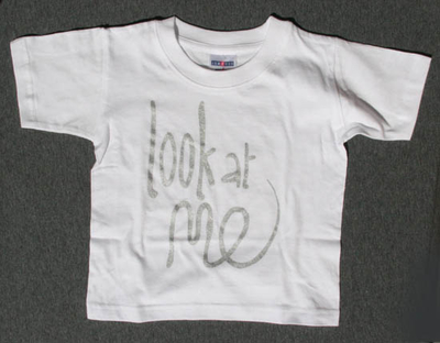 T-shirt Look at me, silver 5-6 år