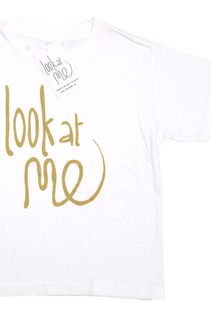 T-shirt Look at me, guld 5-6 år