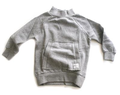 Tjocktröja med ficka, ljusgrå