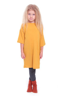 T-shirt klänning, senapsgul
