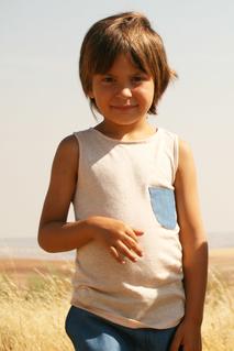 Linne med ficka, beige 2-3 år